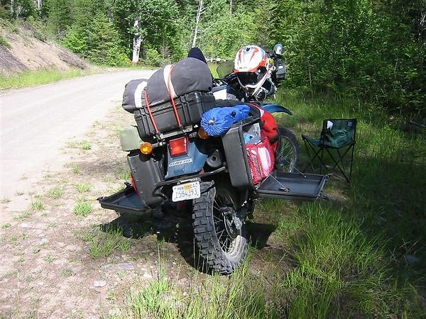 KLR 650 6 6gal aftermarket tank and Pelican Case panniers